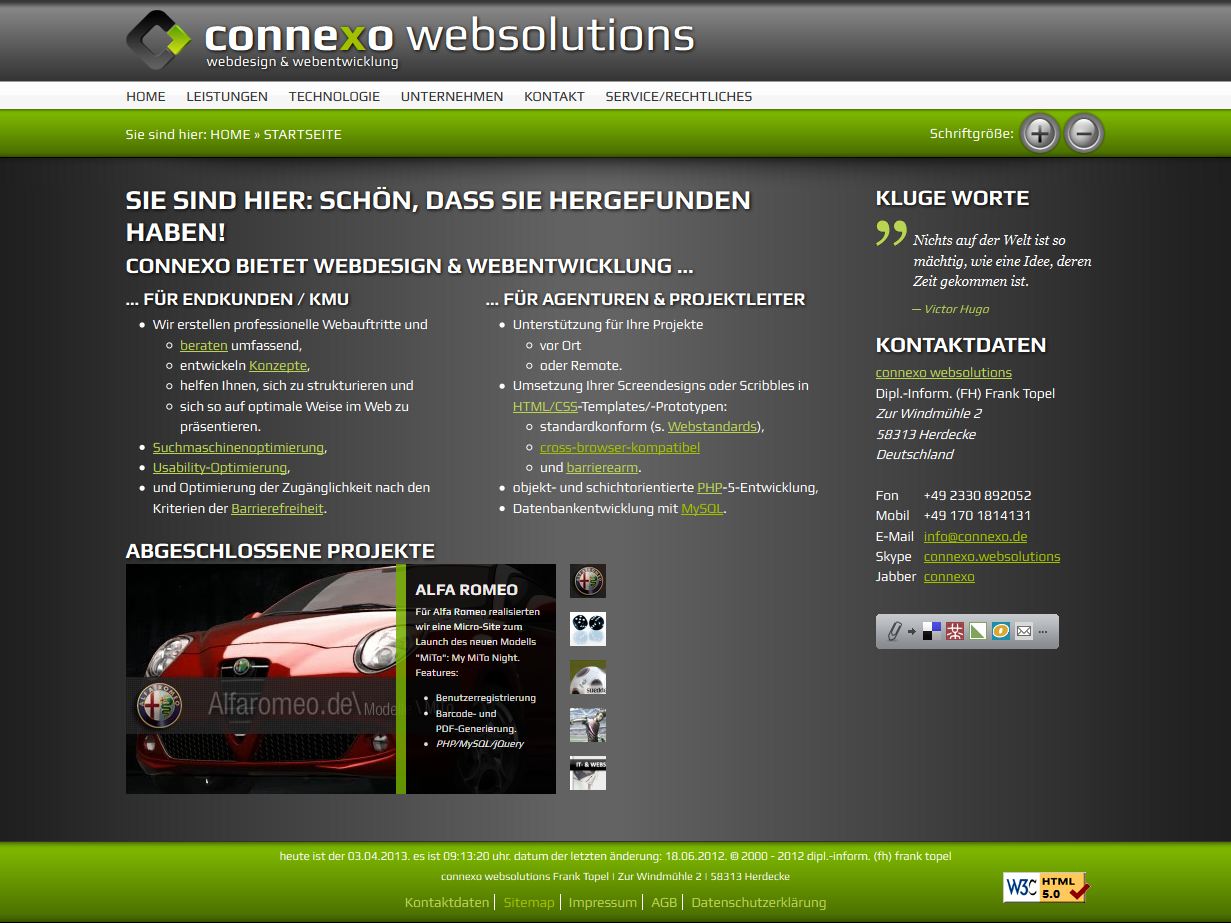Screenshot: Website der connexo websolutions, erstellt 2007