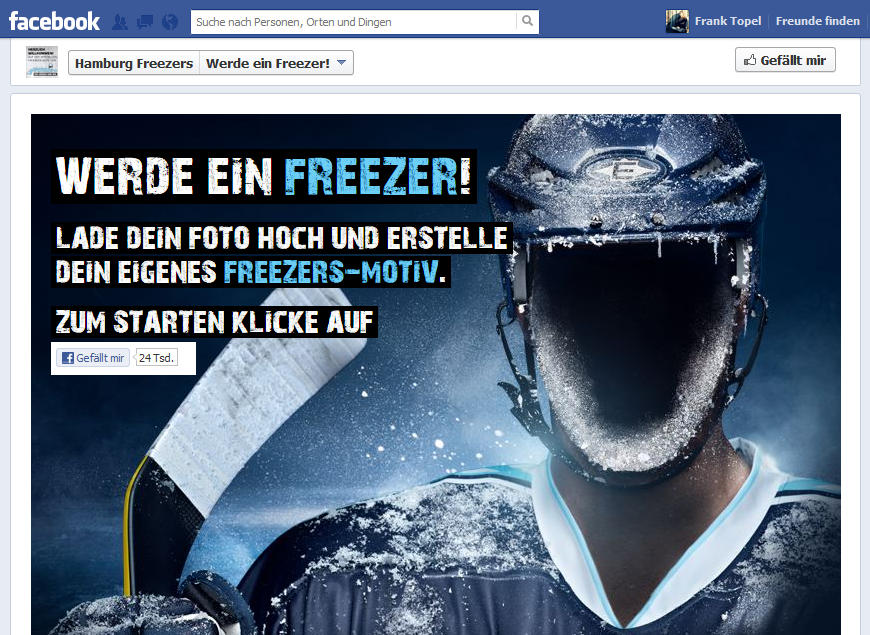 Screenshot: Hamburg Freezers 'Werde ein Freezer'-Facebook-App