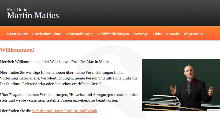 Screenshot: Prof. Dr. Iur. Martin Maties